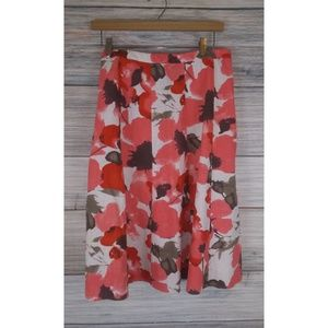 COLDWATER CREEK Linen Blend Floral Flirty Skirt M